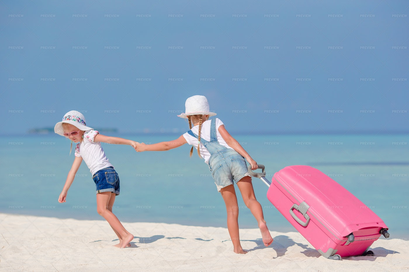 Little Tourists Girls With Big Suitcase: Stock Photos