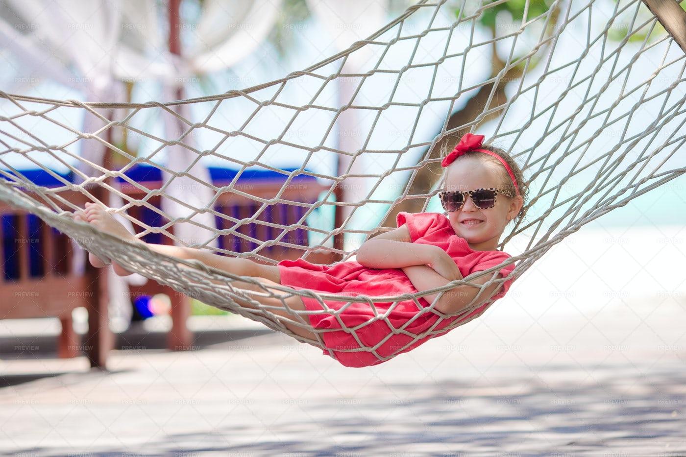 Little Girl On A Hammock: Stock Photos