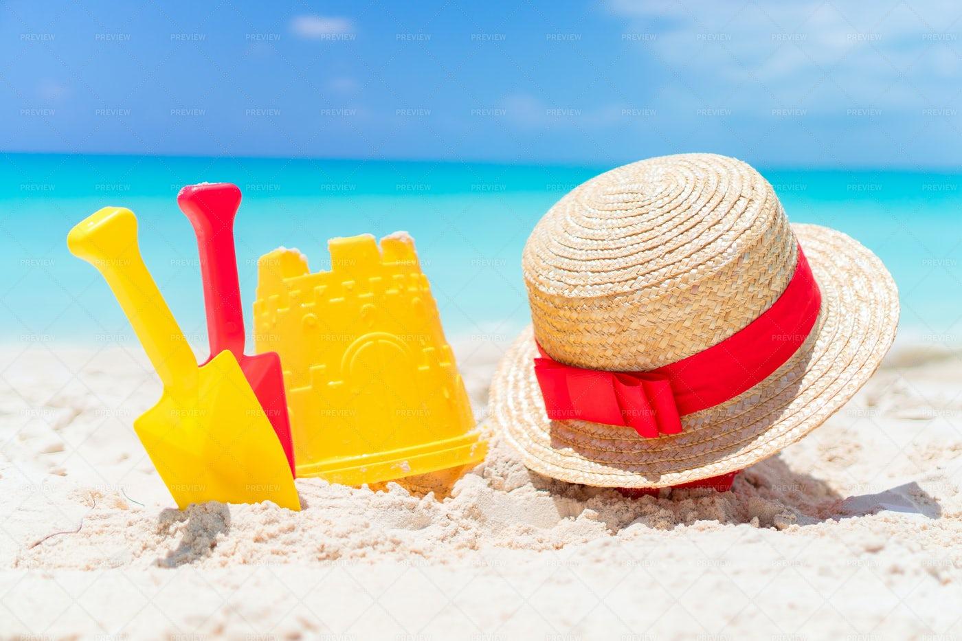 Beach Kid's Toys On White Sand: Stock Photos