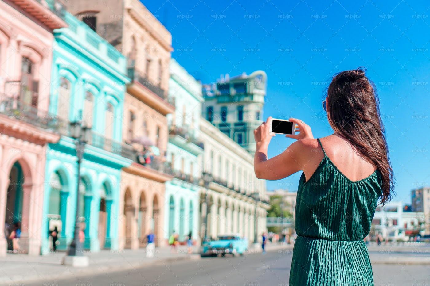 Tourist Girl In Popular Area In Havana: Stock Photos
