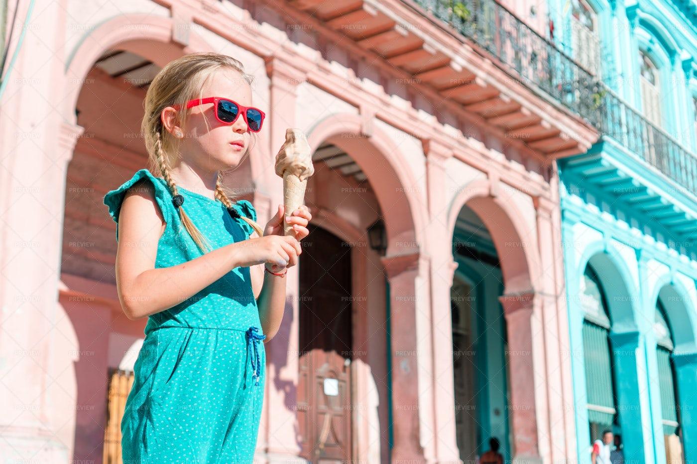 Girl Eating Ice-cream In: Stock Photos