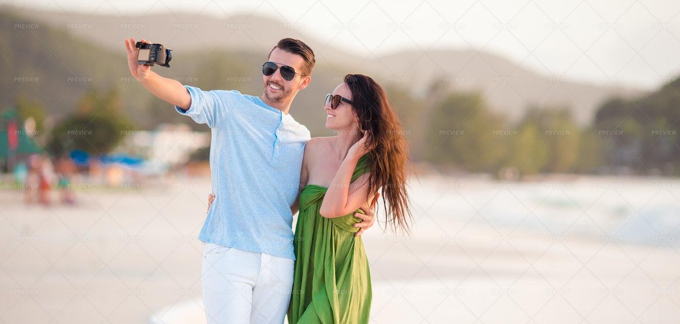 Selfie On The Beach: Stock Photos