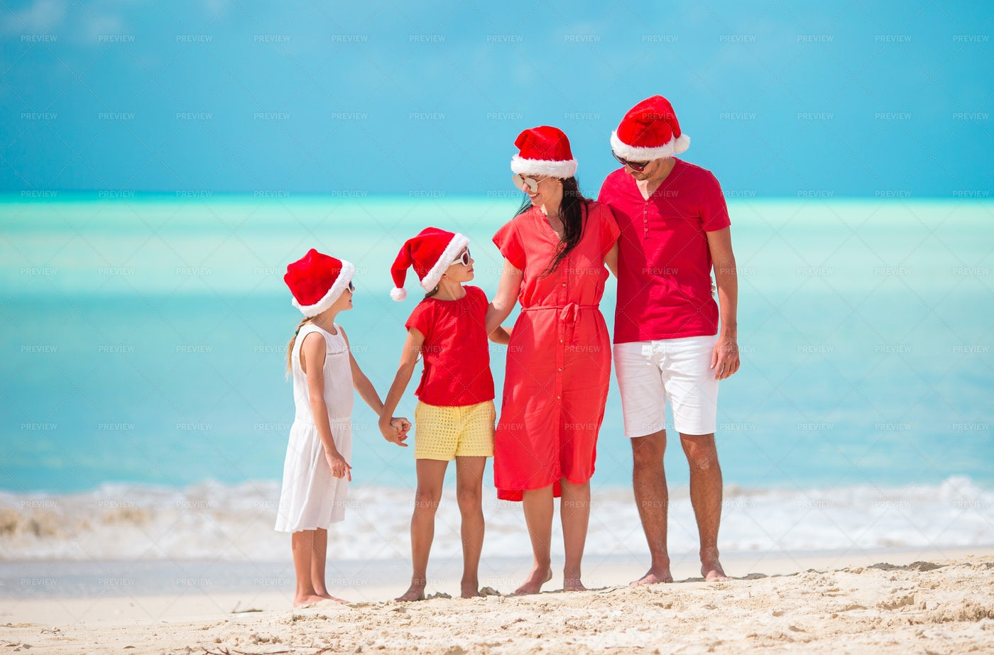 In Front Of The Beach During Christmas: Stock Photos
