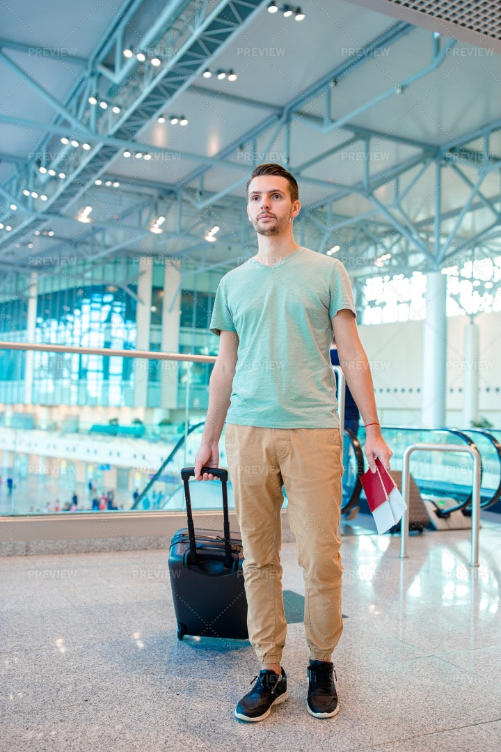 Young Man In An Airport Lounge: Stock Photos