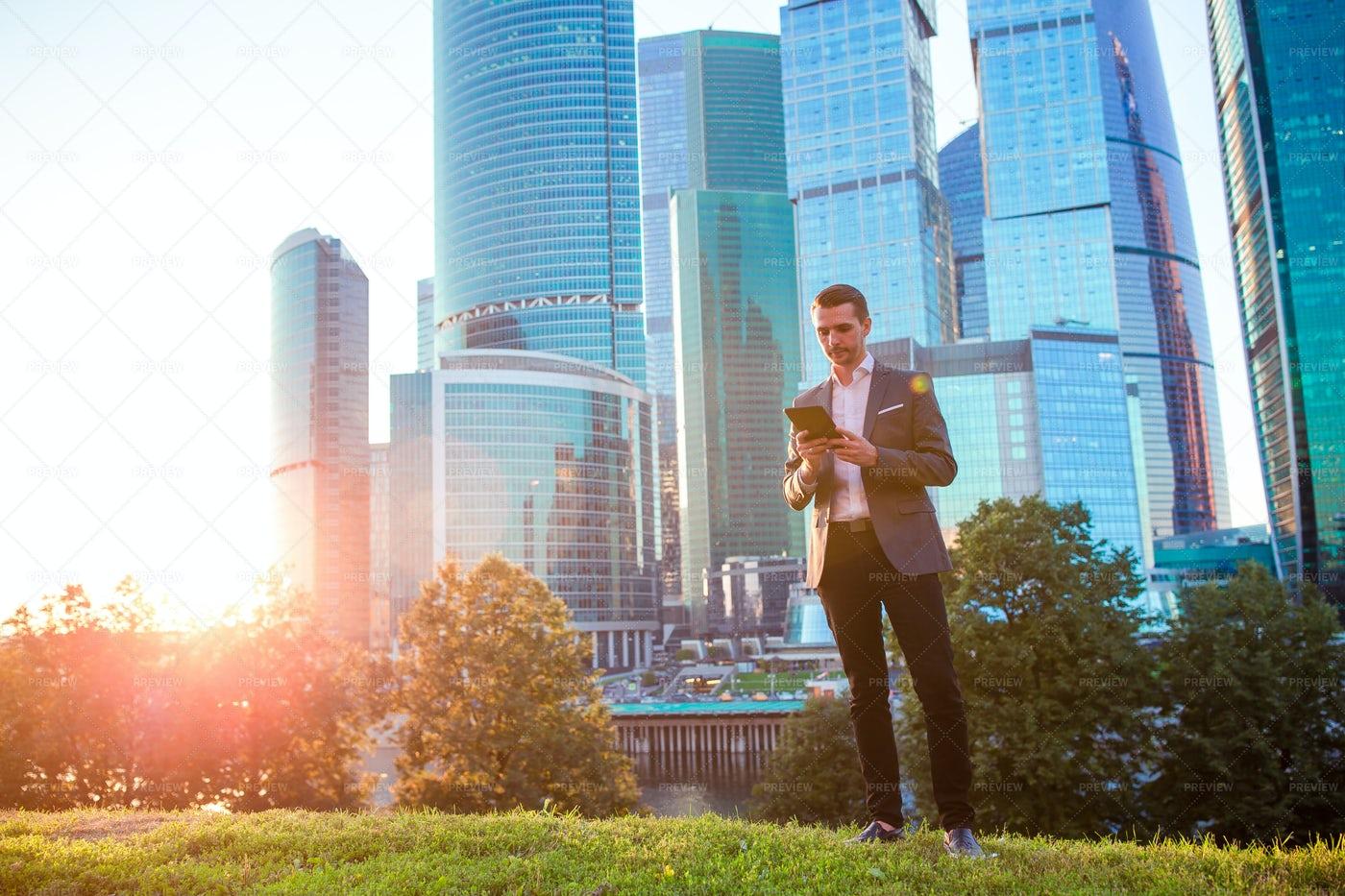 Businessman In A Big City: Stock Photos