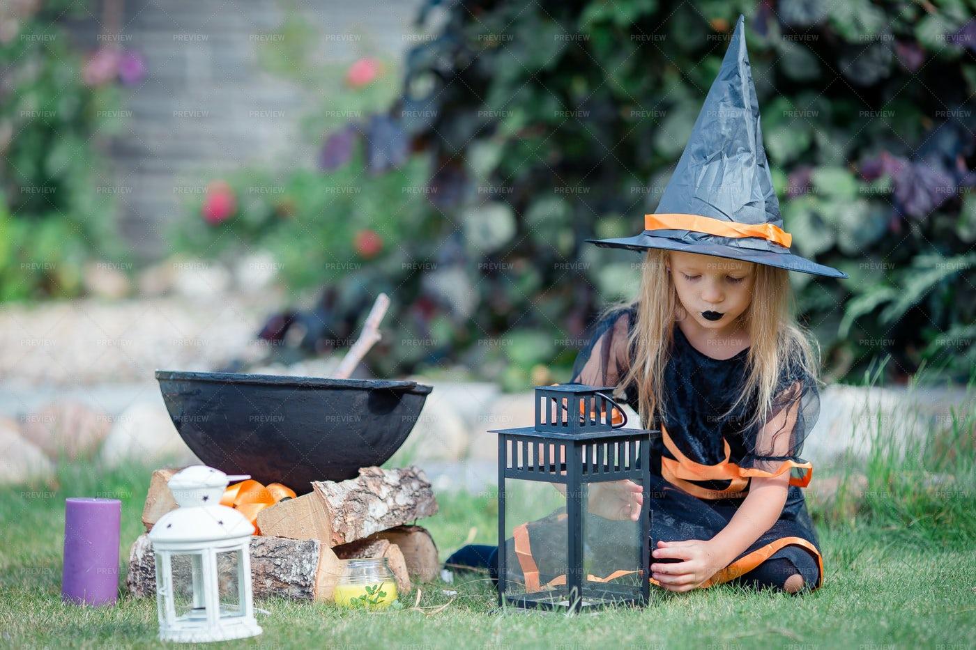 Happy Girl In Halloween Costume: Stock Photos