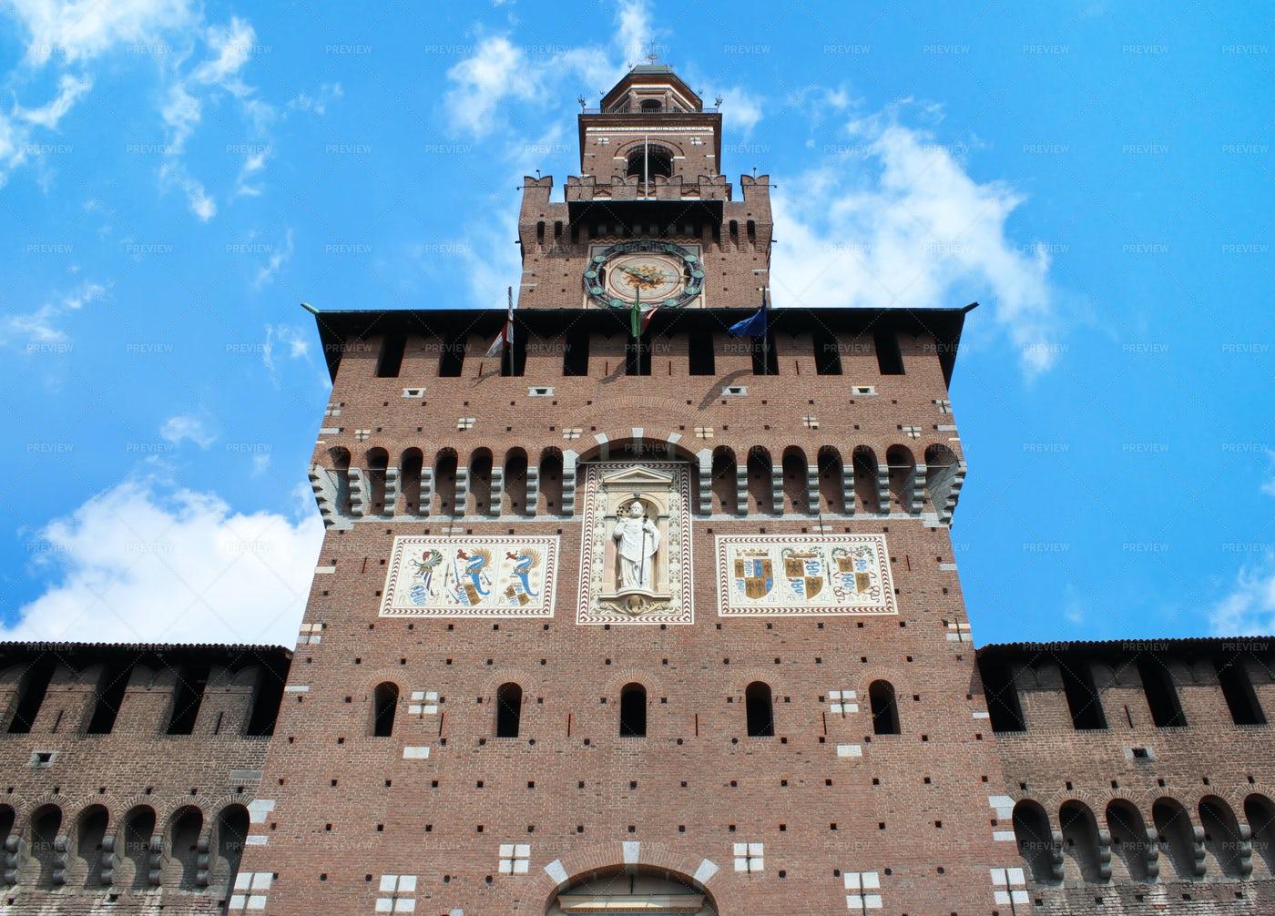 Sforza Castle Facade At Milan, Italy: Stock Photos