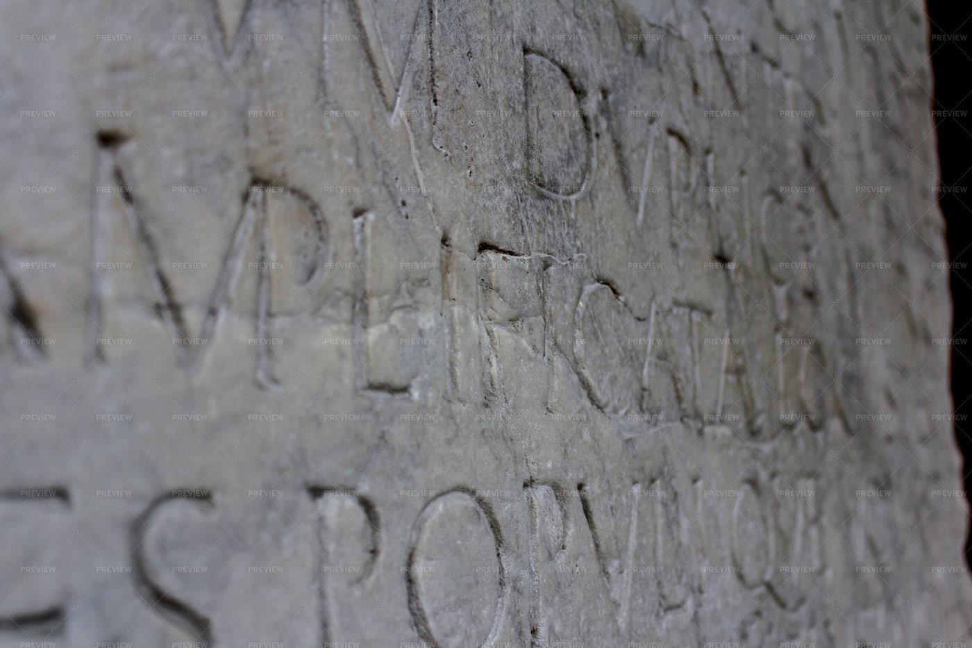 Old Latin Written On White Marble: Stock Photos
