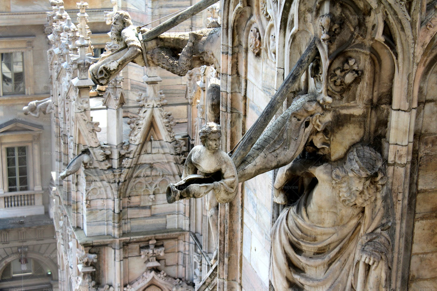 Marble Monuments In Cathedral Of Milan: Stock Photos