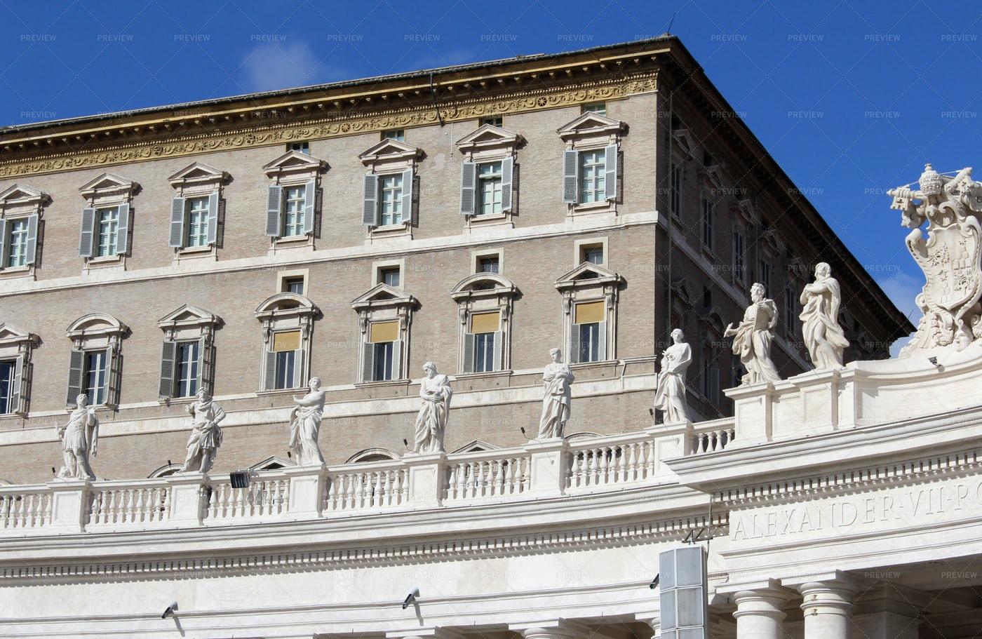 Pope's Window In Vatican City: Stock Photos