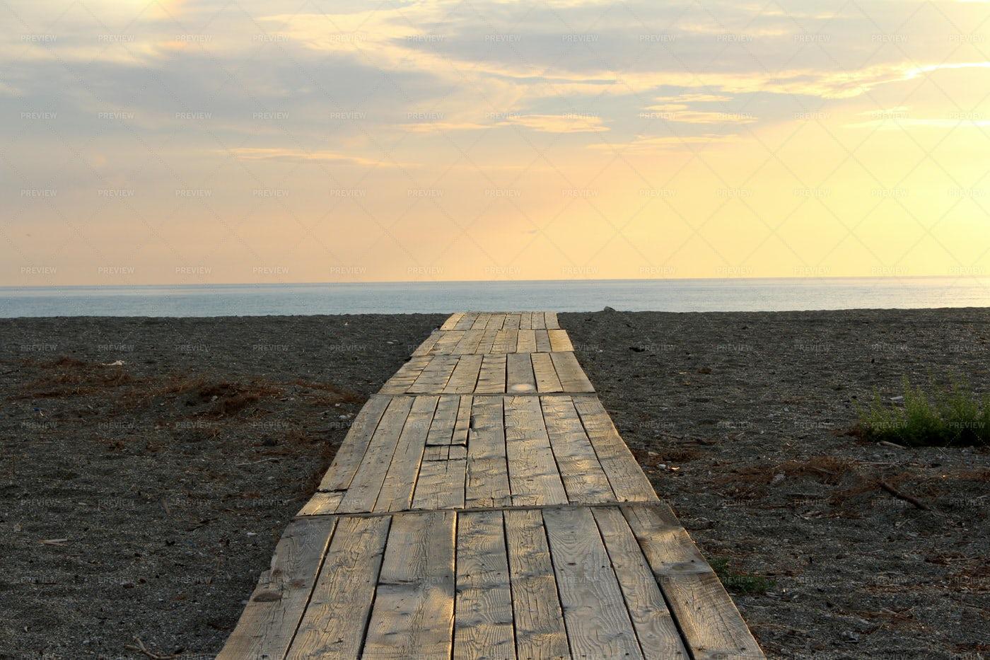Footbridge In The Sea: Stock Photos