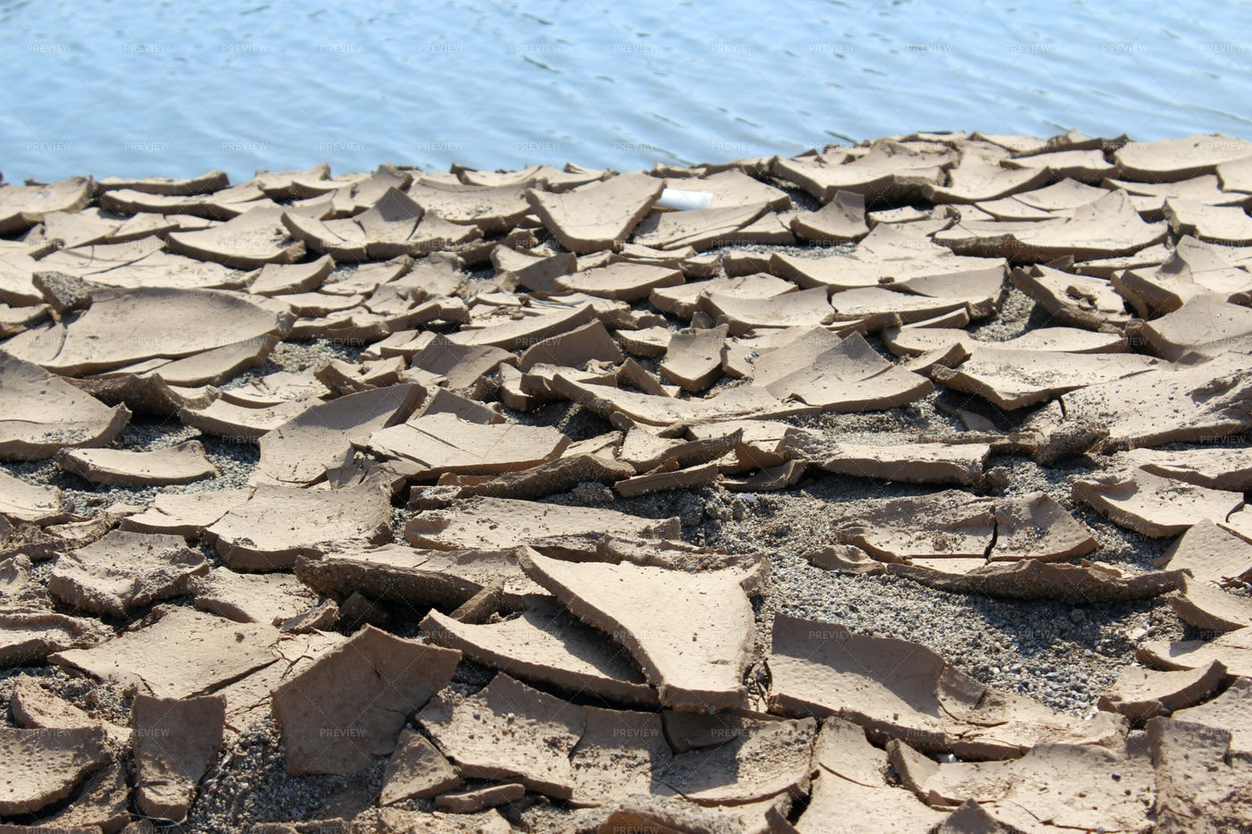 Cracked Ground And River: Stock Photos