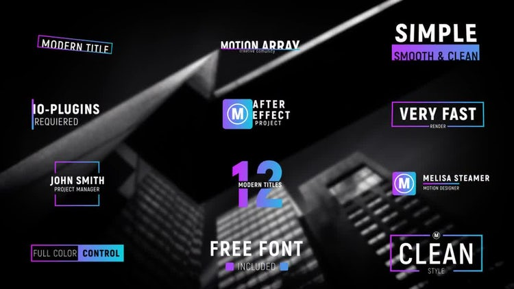 12 Modern Titles: After Effects Templates