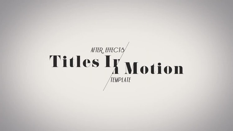 Titles In Motion: After Effects Templates