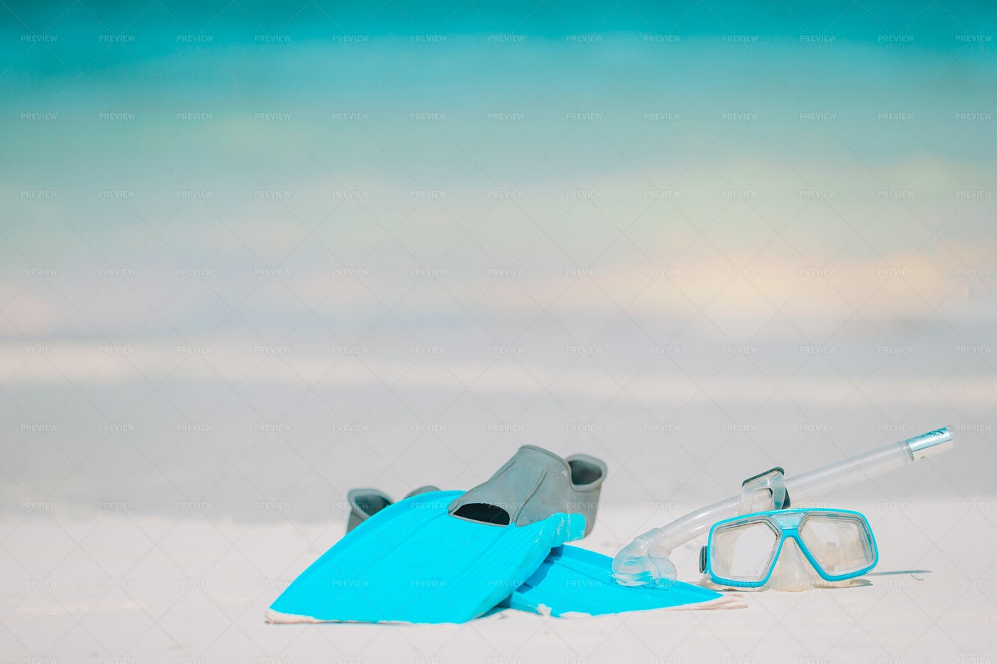 Snorkeling Equipment In The Sand: Stock Photos