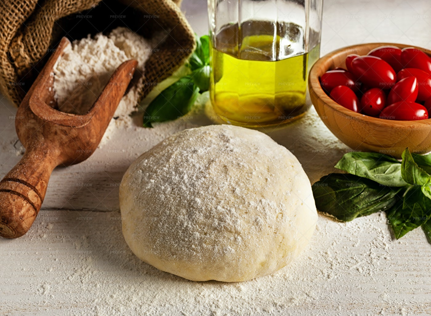 Ingredients For Homemade Pizza: Stock Photos