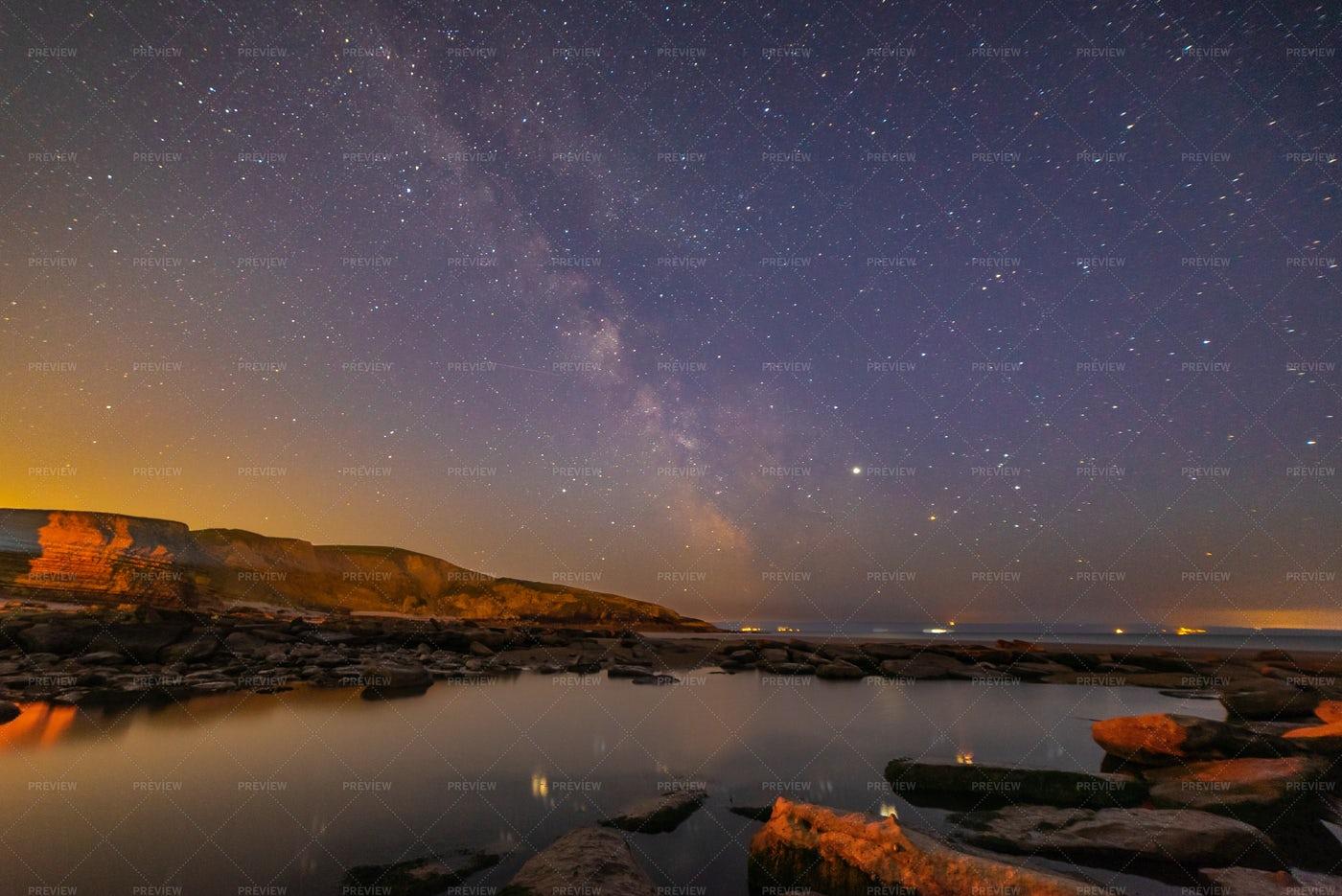 Milky Way Over Beach: Stock Photos