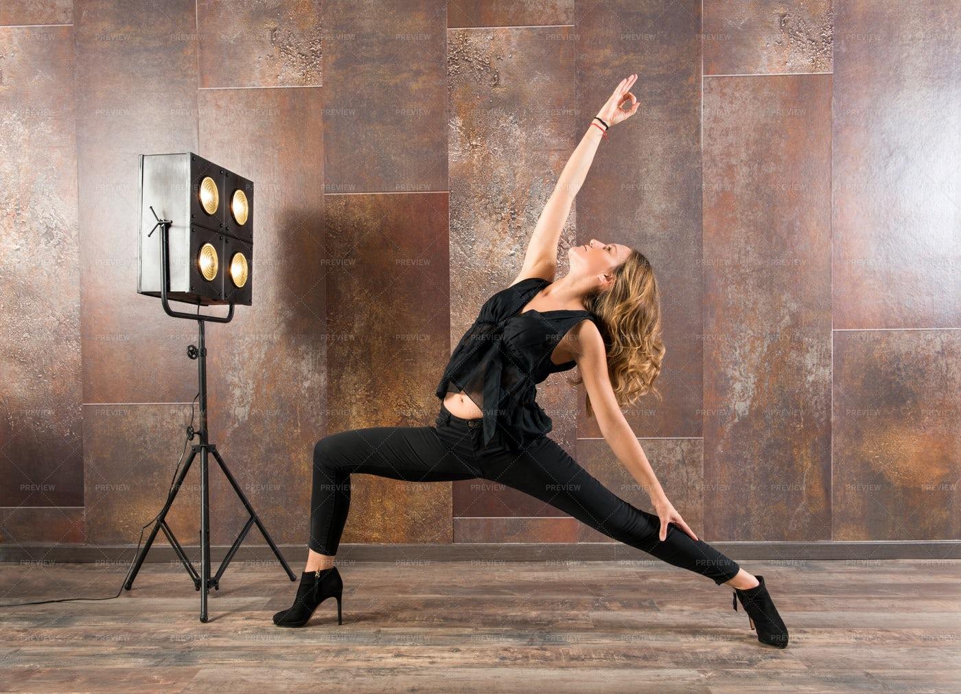 Woman Dancing In A Studio: Stock Photos