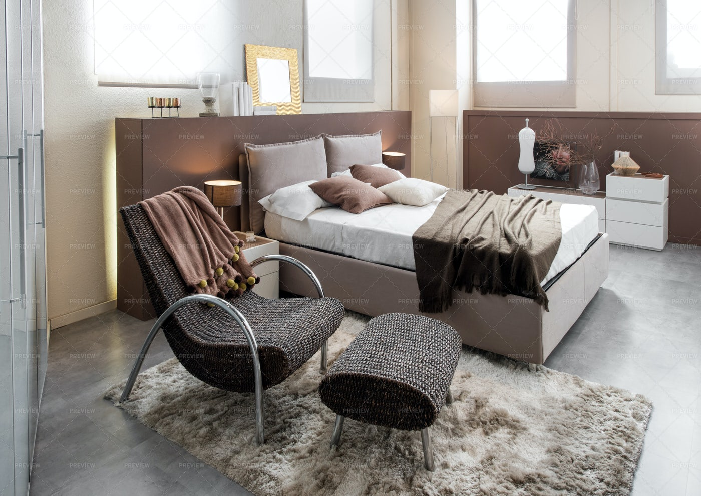 Luxury Bedroom With Recliner Chair: Stock Photos