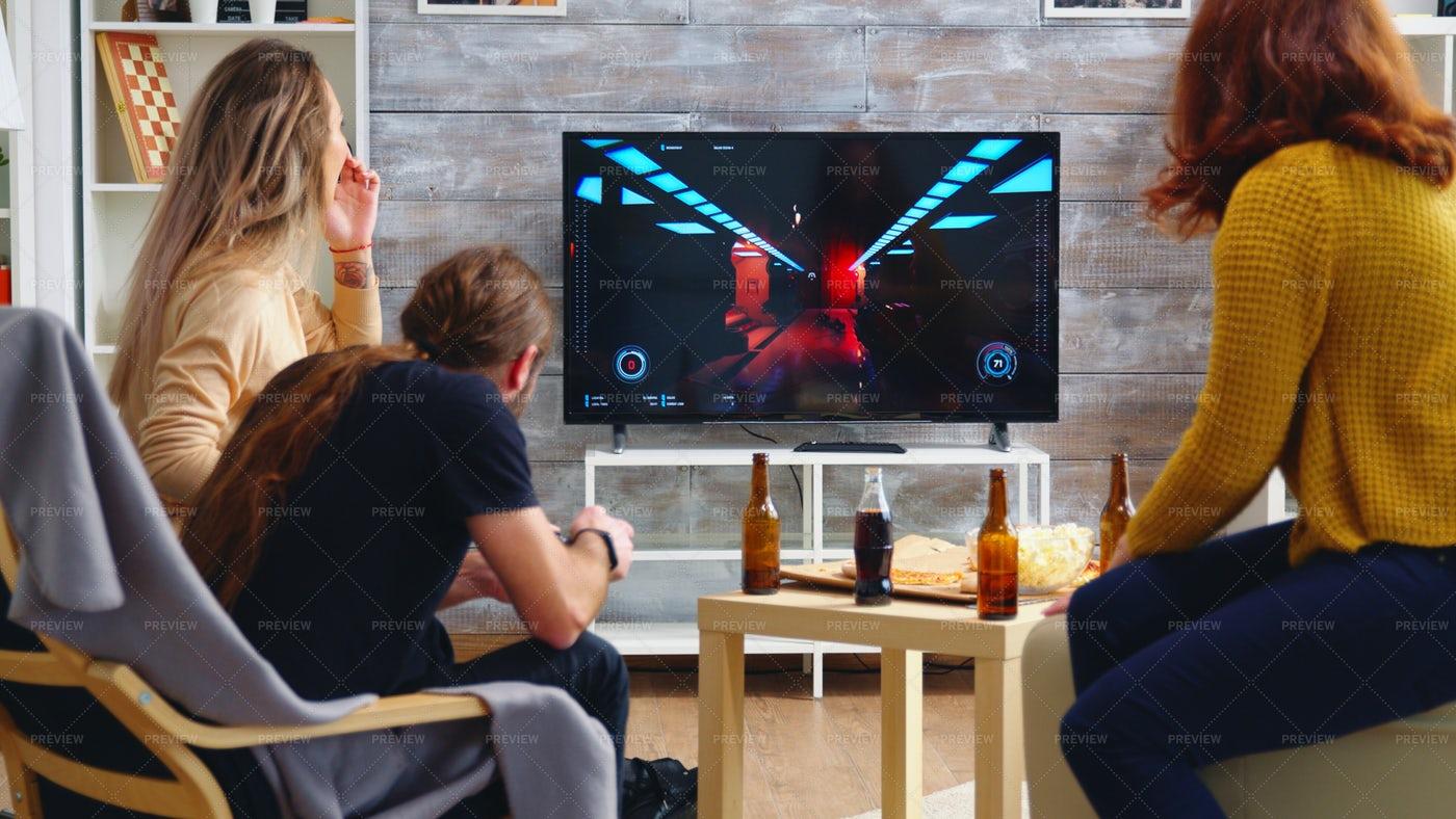 Gaming Party At Home: Stock Photos