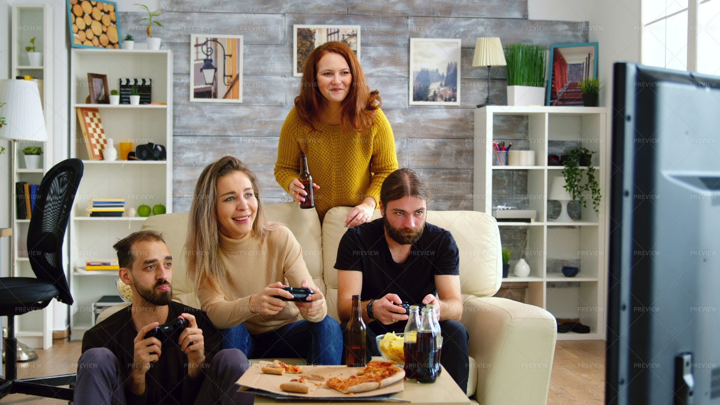 Couch Video Games: Stock Photos
