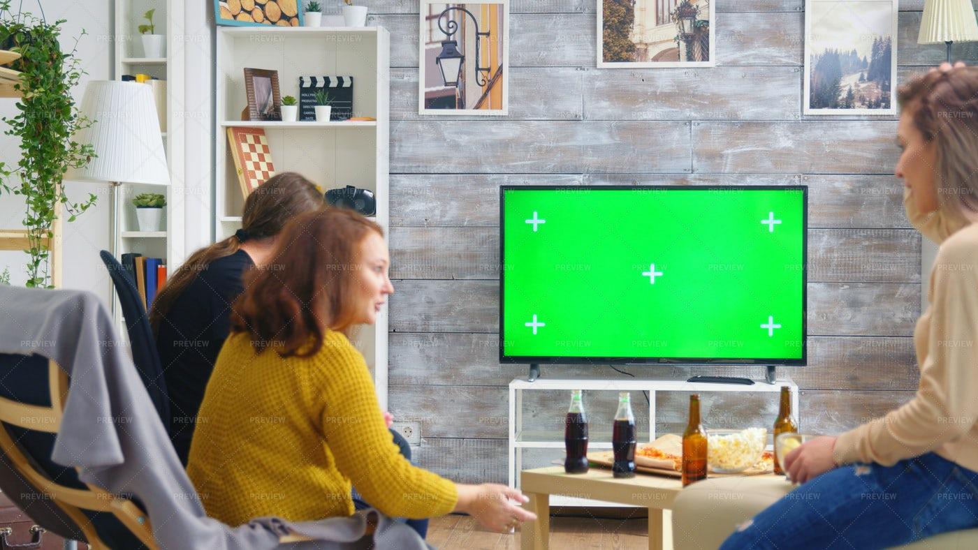 Friends Around The TV: Stock Photos