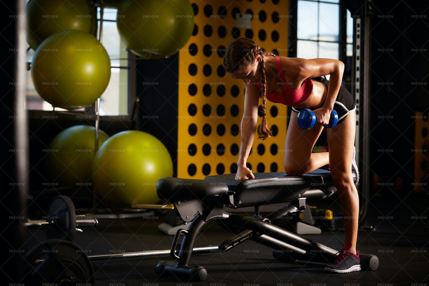 Female Working Out At The Gym: Stock Photos