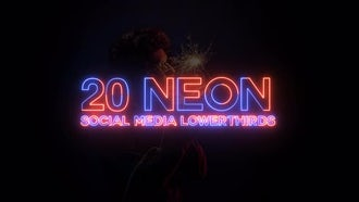 20 Neon Social Media Lower Thirds: After Effects Templates