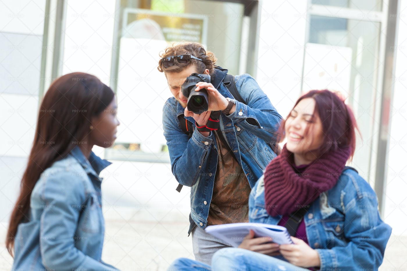 Photographing His Friends: Stock Photos