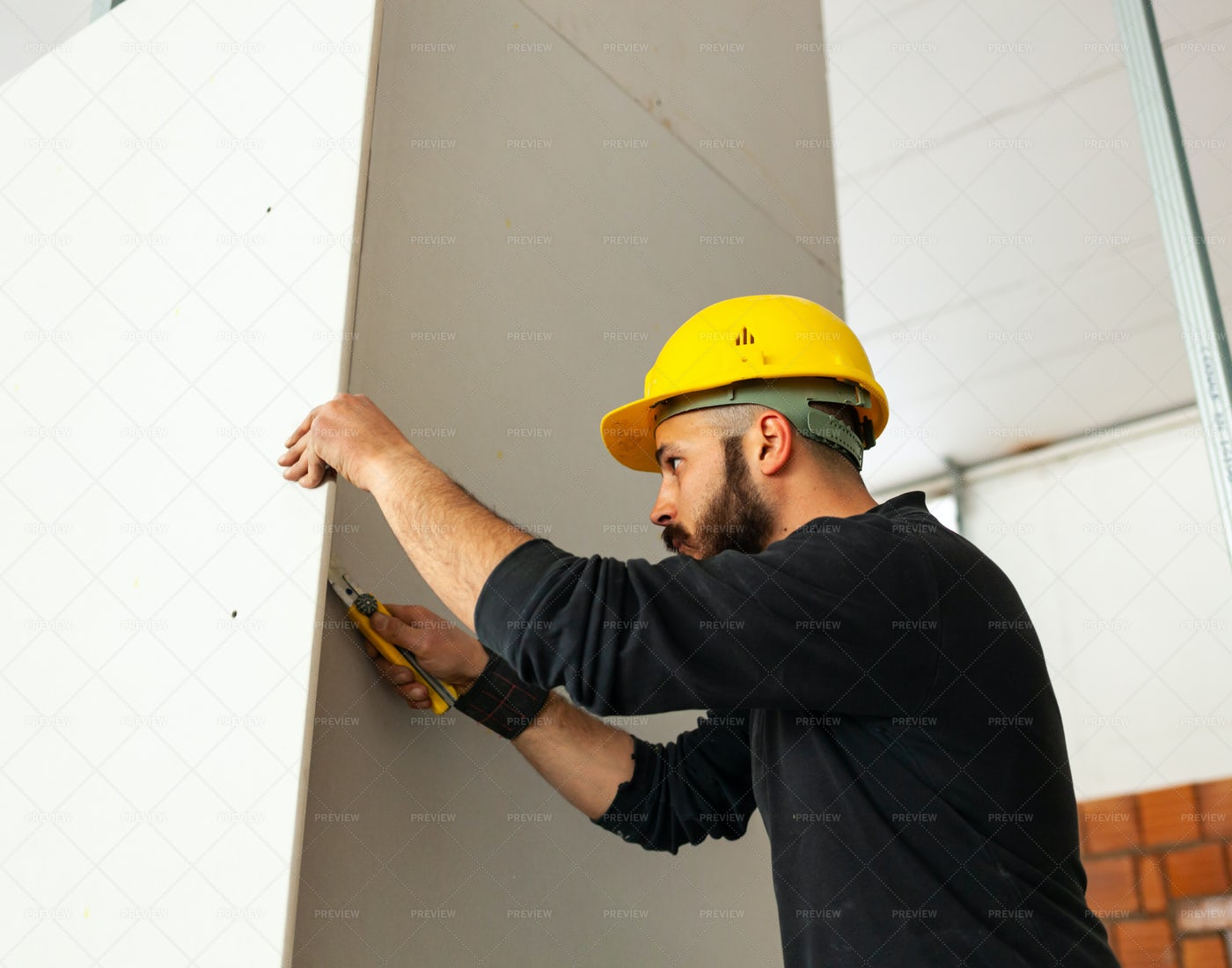Plasterboard Wall Construction: Stock Photos