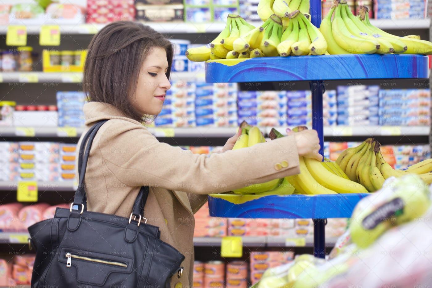 Woman In A Supermarket: Stock Photos