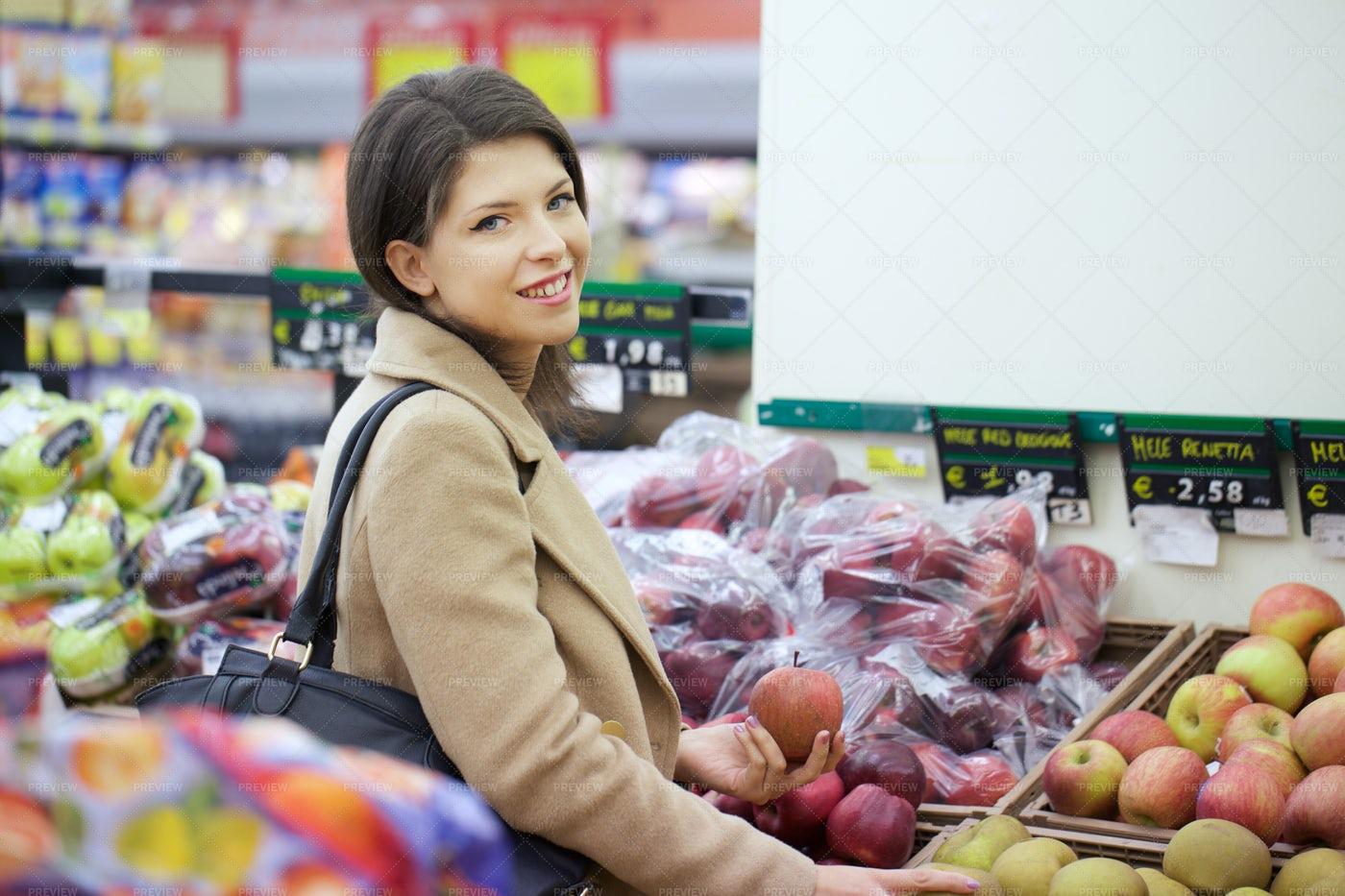 Buying Supermarket Fruit: Stock Photos