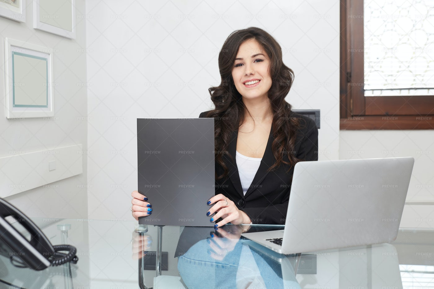 Businesswoman With Blackboard: Stock Photos