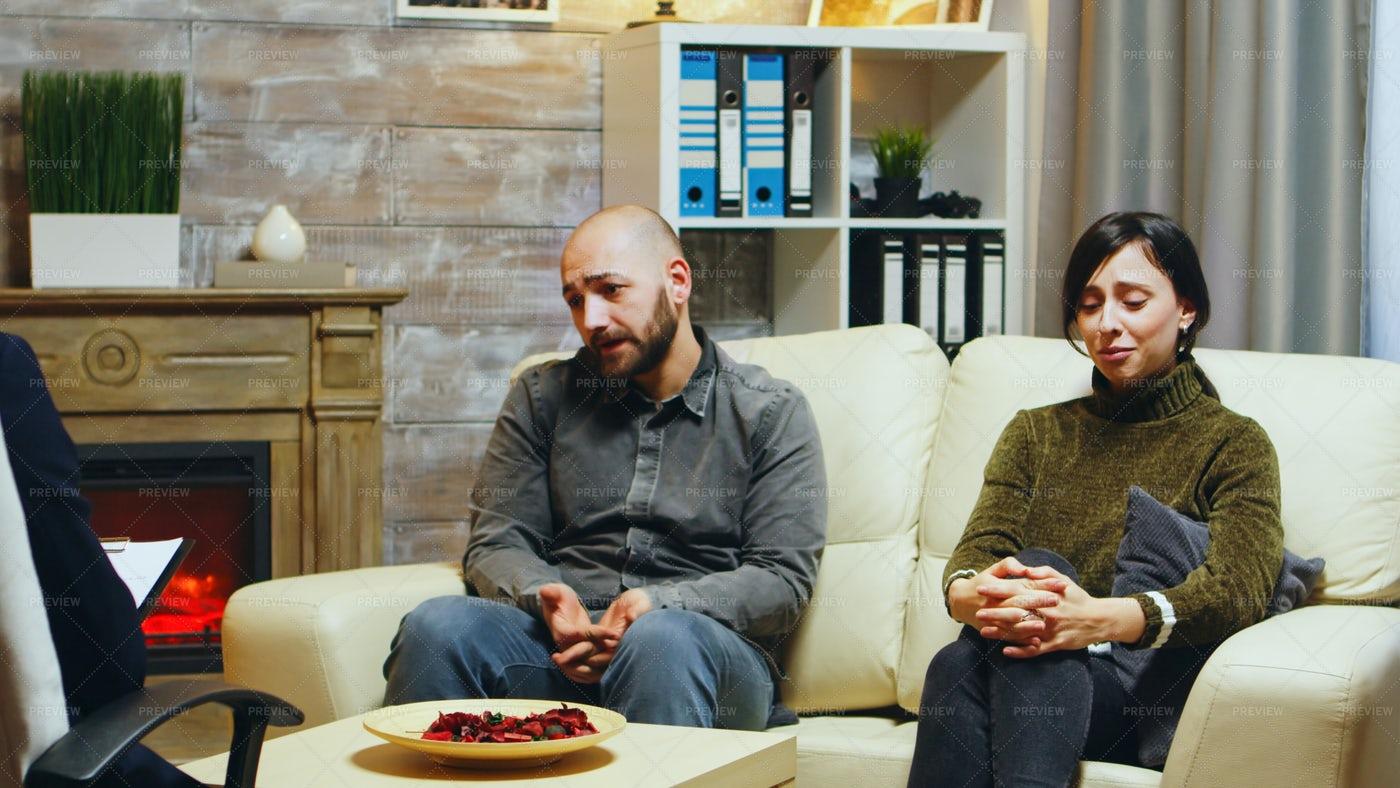Unhappy Couple In Therapy: Stock Photos