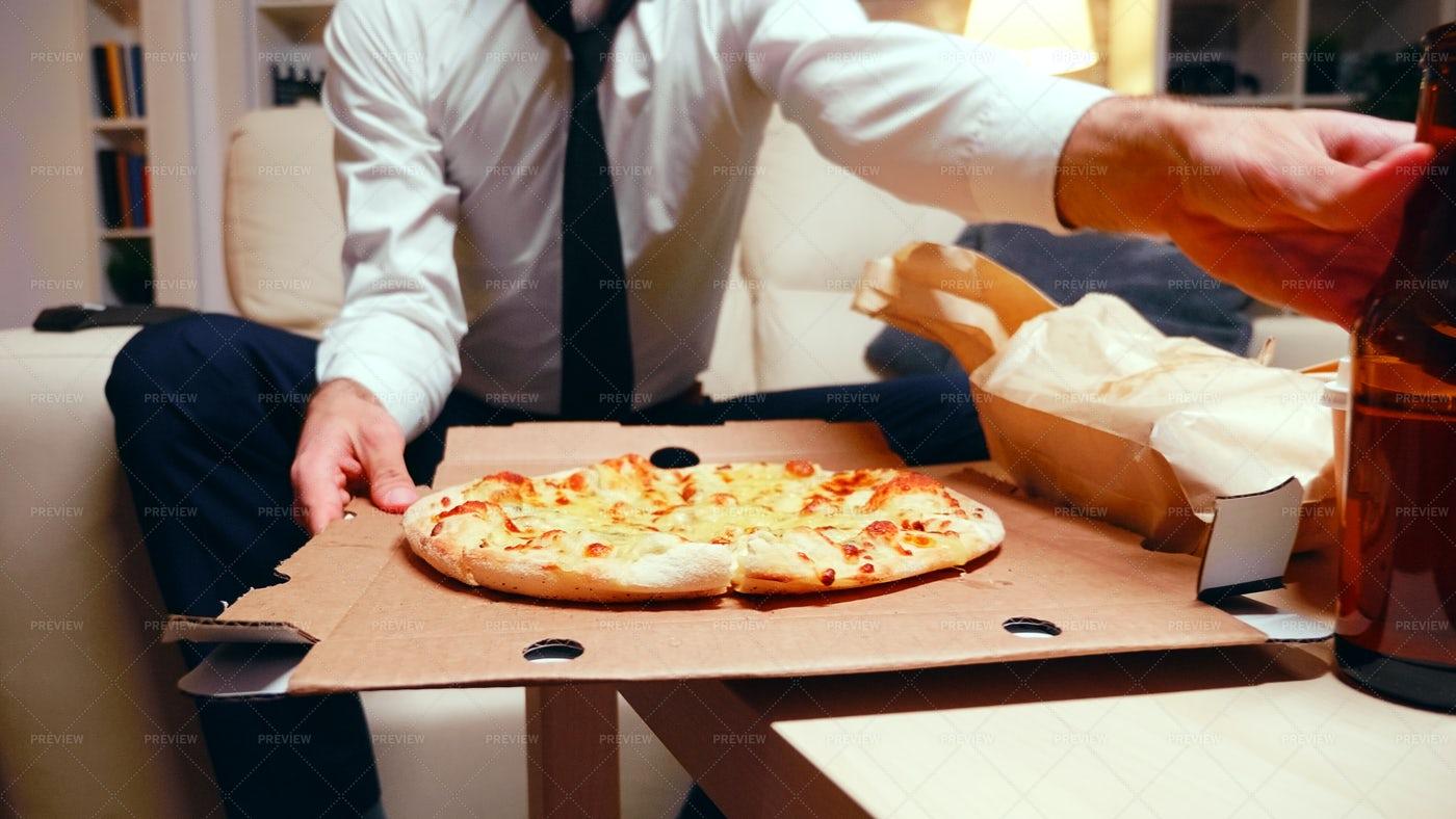 Businessman Eating Pizza: Stock Photos