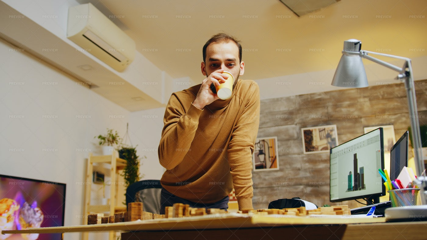 Architect Drinking Coffee: Stock Photos
