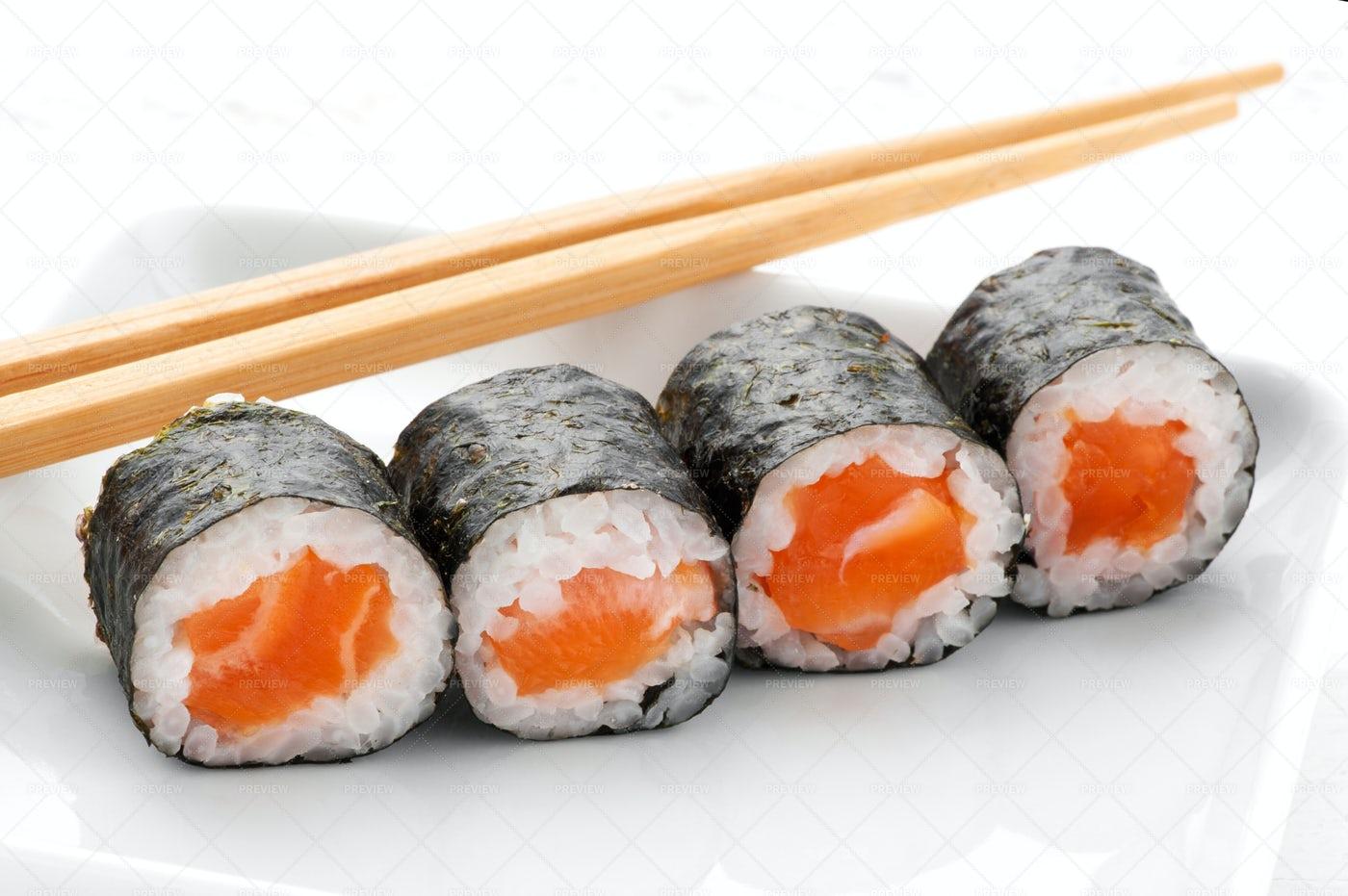 Four Hosomaki Salmon Sushi: Stock Photos
