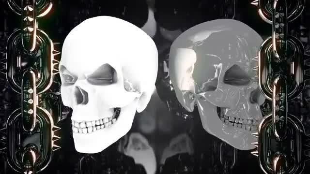 Glowing Metal Skulls: Stock Motion Graphics