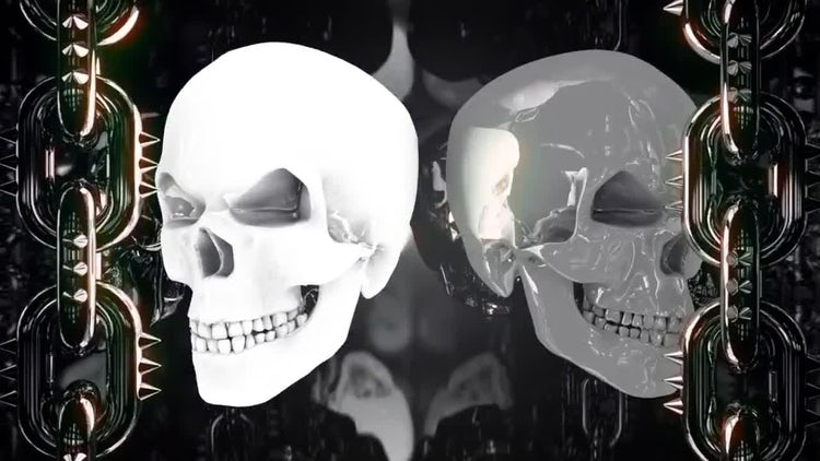 Glowing Metal Skulls: Stock Motion Graphics