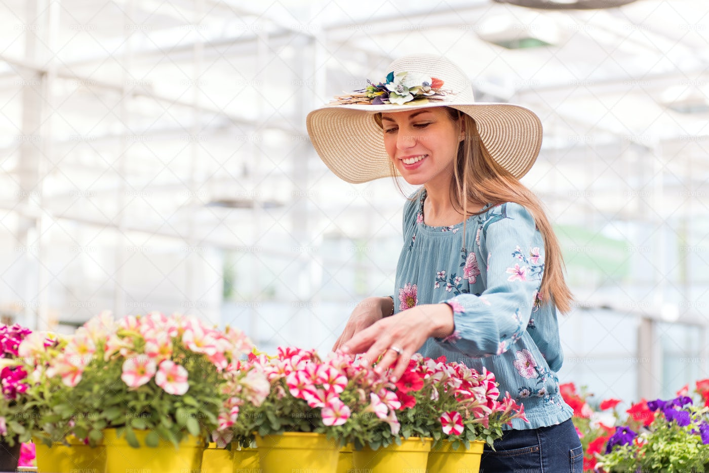 Young Woman Buying Plants: Stock Photos