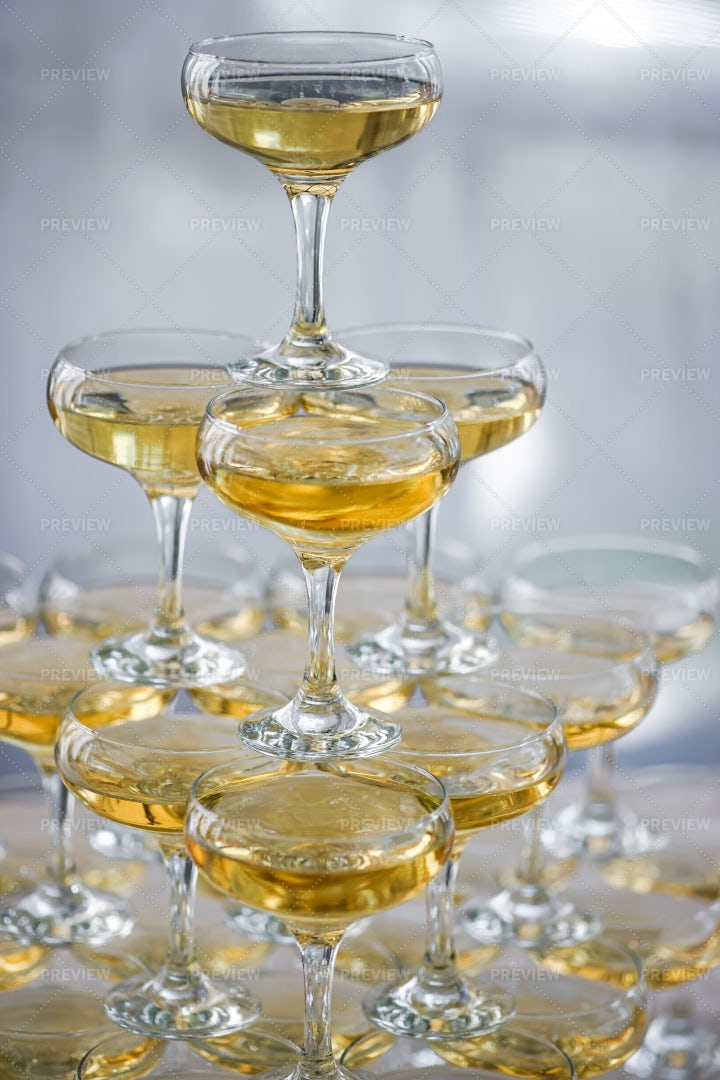 Pyramid Of Champagne Glasses: Stock Photos