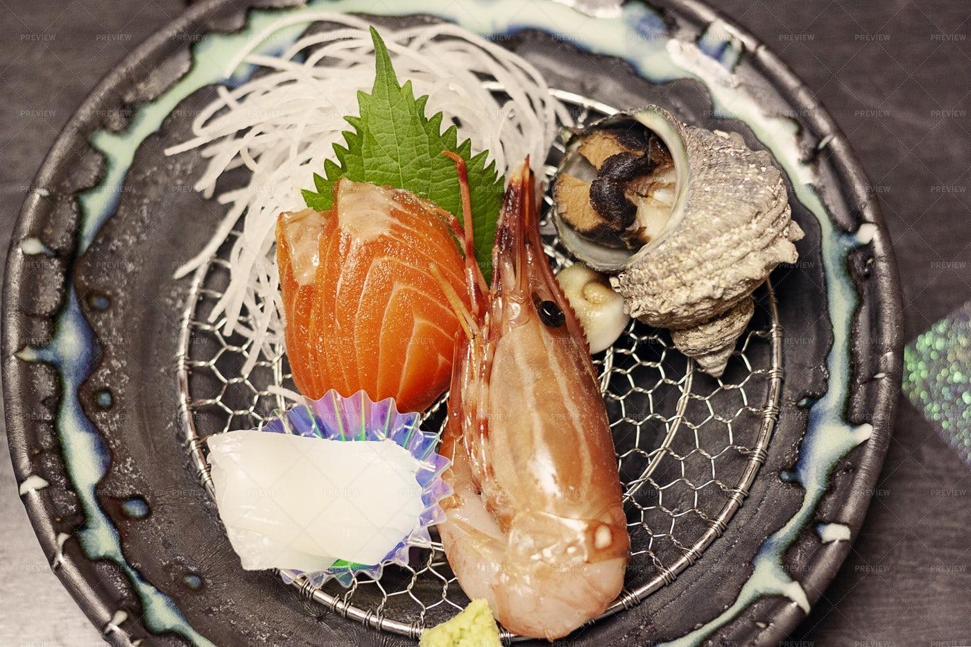 Prawn And Salmon Sashimi: Stock Photos