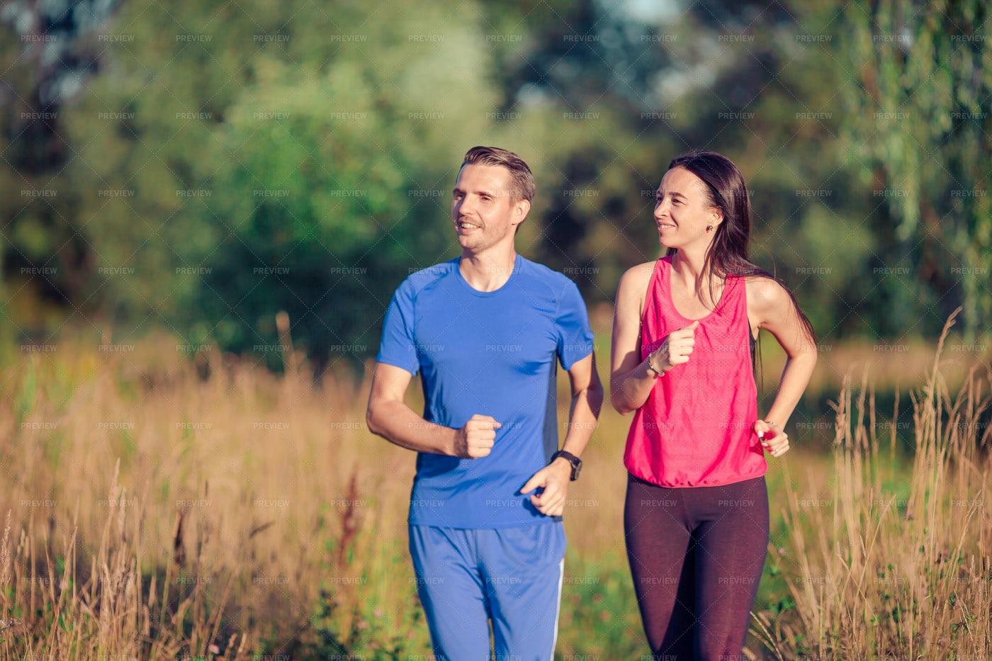 Active Sportive Couple: Stock Photos