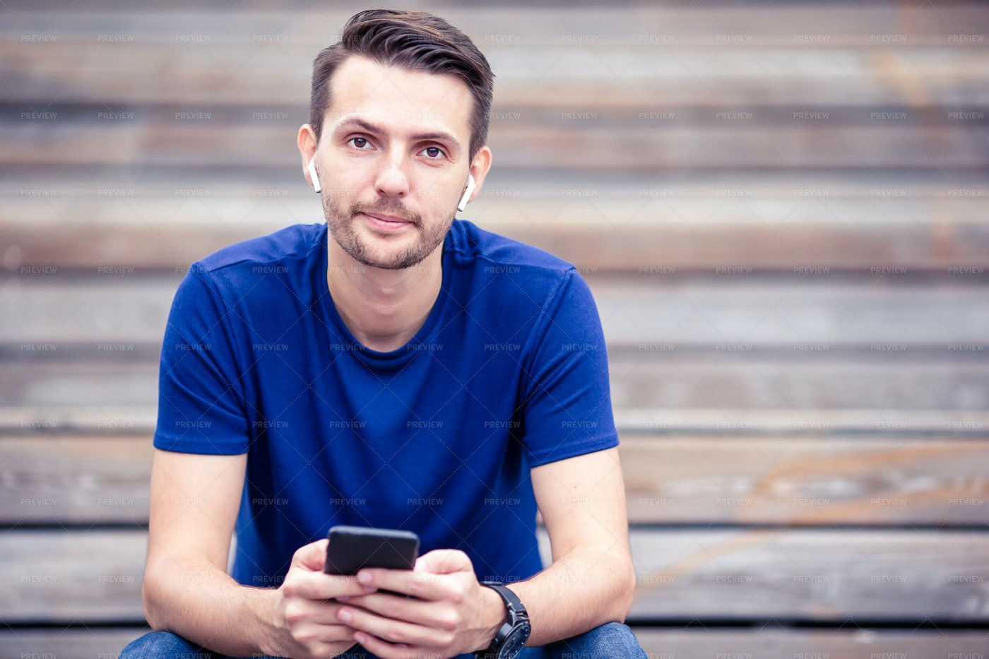 Reading A Text Message: Stock Photos
