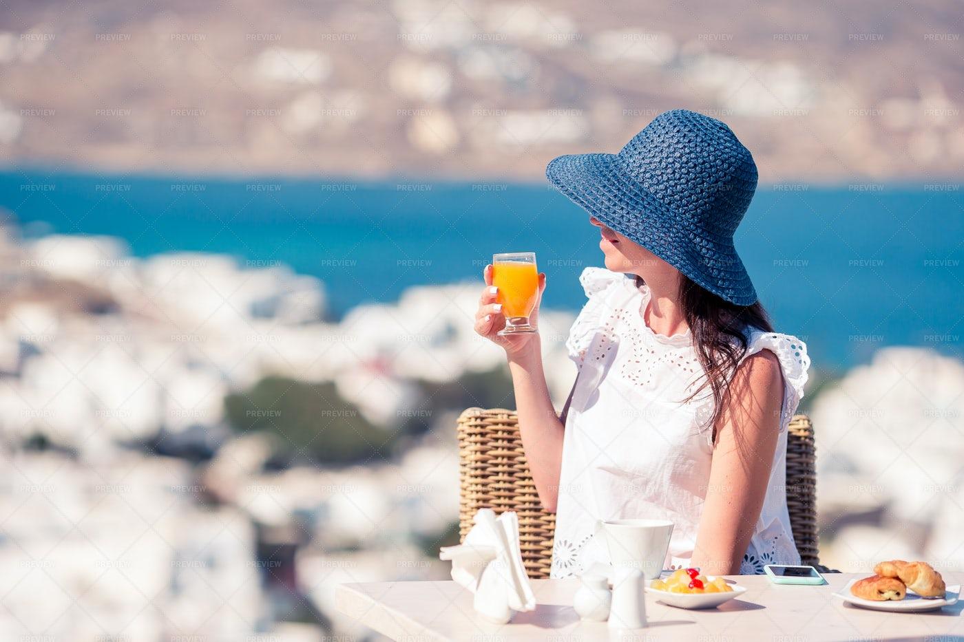 Tourist Having Breakfast: Stock Photos