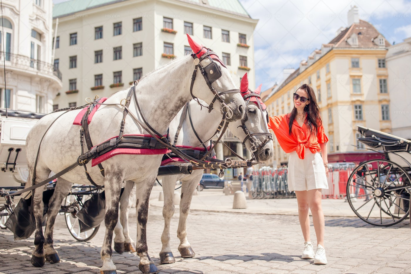 Woman And Carriage: Stock Photos