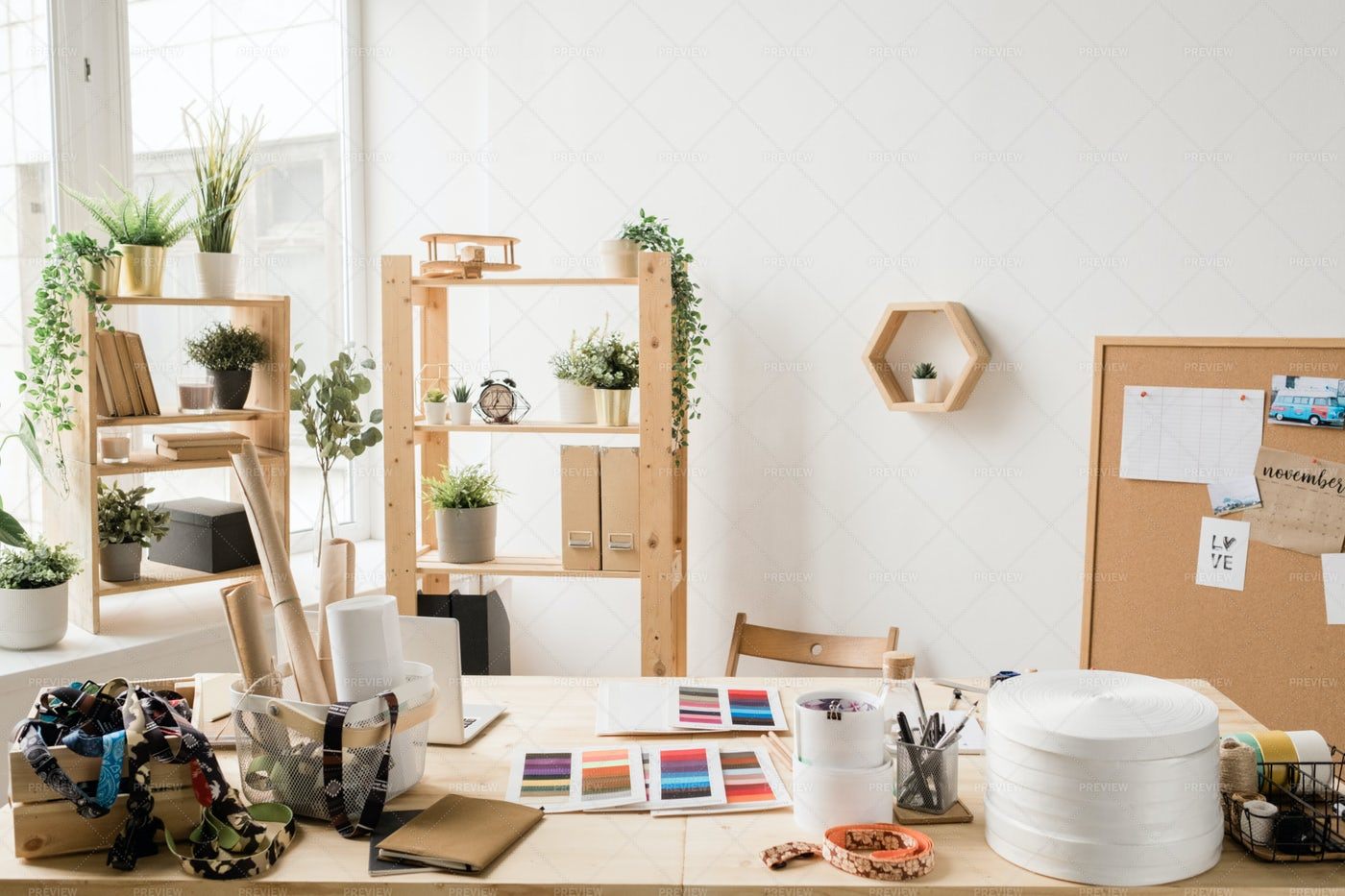 Wooden Table By Window With Various...: Stock Photos
