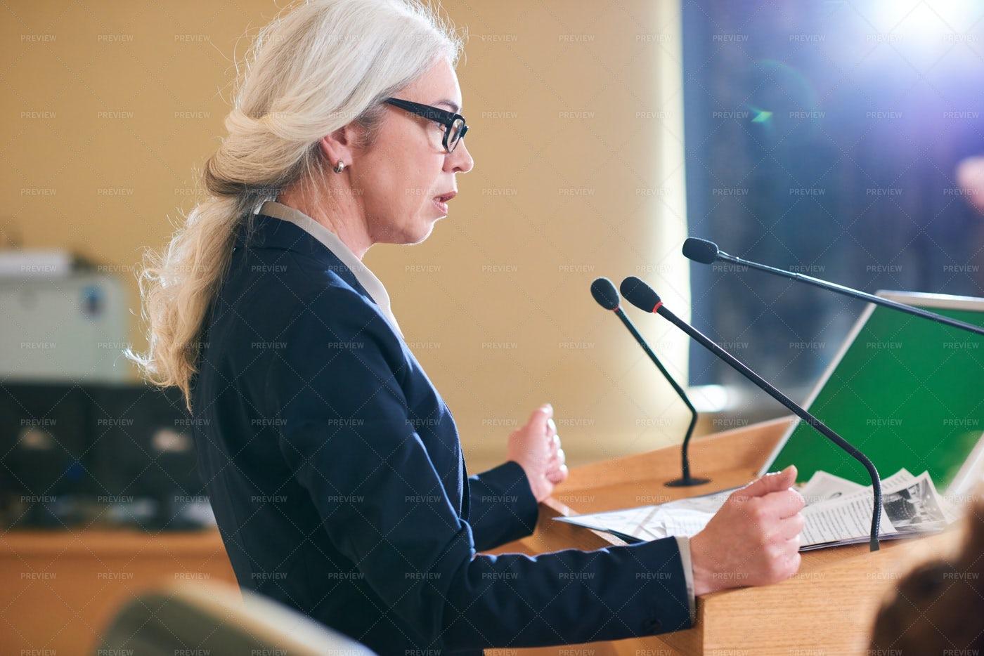 Speech Of Female Delegate: Stock Photos