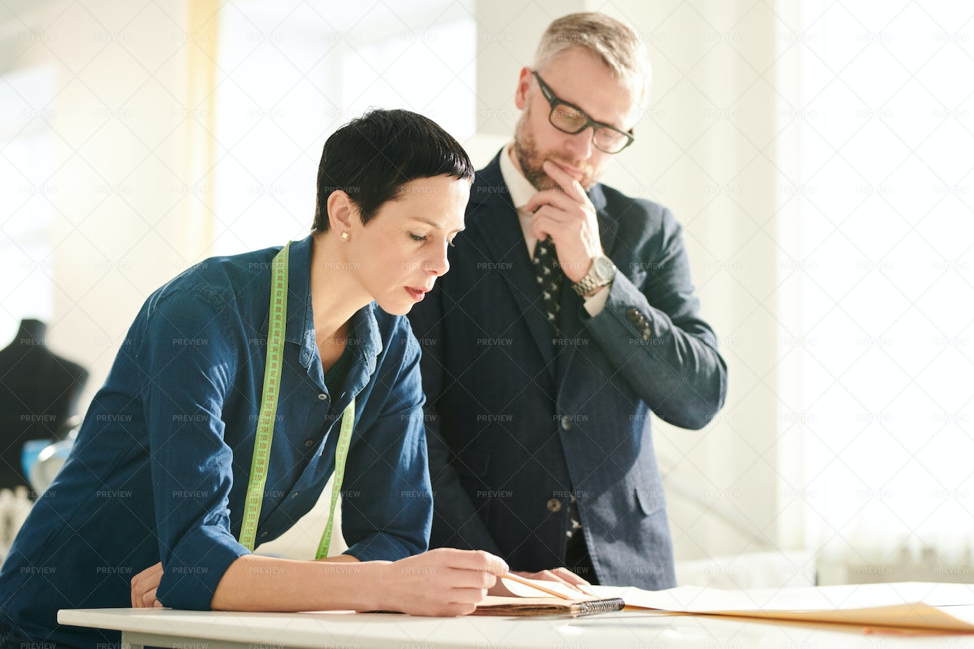Discussing Sketch: Stock Photos