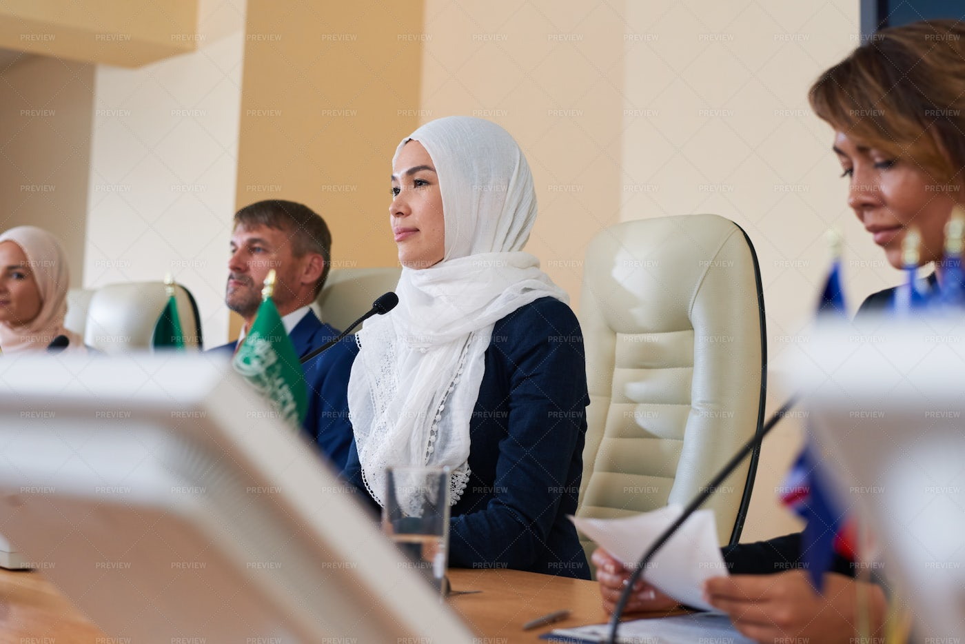 Muslim Speaker At Conference: Stock Photos